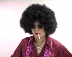 Afro Afroperücke im 70er Set Perücke Lennonbrille und Peacezeichen