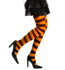 Hexe Hexenstrumpfhose Strumpfhose orange gestreift Halloween