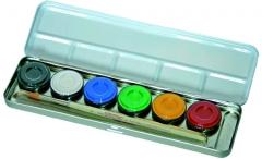 6 Farben Metall Palette Schminkfarben Make up Faschingsschminke