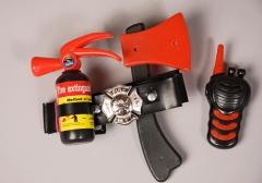 Feuerwehrset Feuerwehrkostüm-Zubehör 4 teilig Kinder
