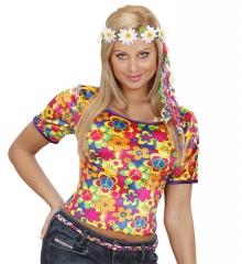Hippie Shirt Hippieoberteil mit Haarband Mageriten Sommerparty