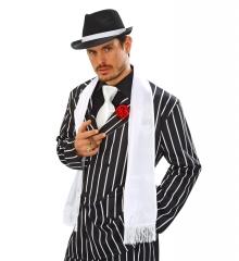 weißer Schal Satinschal Gentleman Gangster Charleston