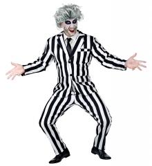 Lottergeist Halloweenkostüm Horrorclown Anzug gestreift Ghost