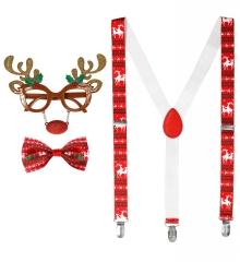 Rudolph Rentier Elch Set 3 teilig Hosenträger,Brille,Weihnachtsfliege