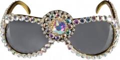 Partybrille Elton Paillettenbrille Showstar Mottoparty Glitzerbrille