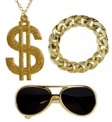 Rapper Hustler Hiphop Schmuck-Set Dollarkette Prollbrille Armband