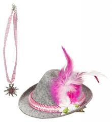 Trachtenhut mini Damen mit Trachtenkette Edelweiss Oktoberfest