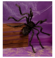 Schwarze große haarige Spinne Gruselfaktor Halloweendekoration