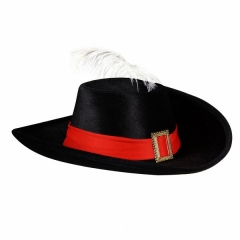 Musketier Musketierhut mit Feder schwarzer Hut