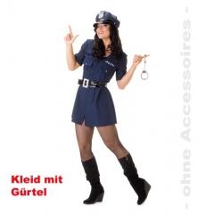 Polizistin Kleid mit Gürtel Kostümfest Karneval Faschingsparty Damenve