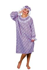 Nachthemd geblümt mit Nachthaube Pyjamaparty Junggesellenabschied
