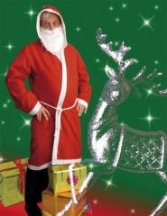 Nikolaus Weihnachtsmann Filzmantel mit Kaputze Kordel Bart
