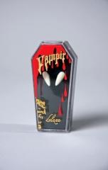 Vampir Draculazähne Spitzzähne Eckzähne im Sarg mit Haftmasse