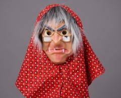 Hexe Hexenmaske mit Tuch u. Haar Karneval Fasching