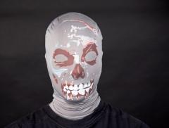 Textile Haubenmaske Totenschädel mit Blut Gruselmaske Halloweenparty