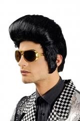 Elvis Perücke + Brille 70er 80er Rockn Roll Karneval Fasching