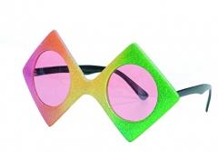 Brille Regenbogen Disco Viereck Faschingsbrille Accessoires Zubehör Pa