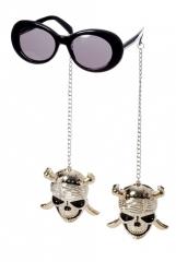 Brille mit Ohrringen Totenkopf Halloween Accessoires Party Zubehör