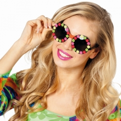 Hippiebrille Mottoparty Flower Brille 70er Jahre Schmetterling Blumen