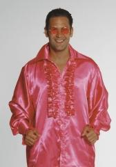 Satin Rüschenhemd Herren Hippie 70s Karneval 15 Farben