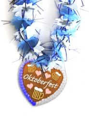Oktoberfest Blütenkette blau weiß mit Lebkuchen Wiesn