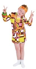 Kleid Retro Partykleid Hippiekleid Mädchenkostüm Verkleidung 70er Jahr