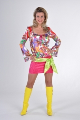 70er Jahre Blouson Kleid Hippieparty Mottoparty Retrokleid Schlagerpar