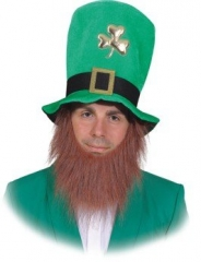 St Patricks Day grüner Kobold Irisch Irish Leprechaun Hut mit Bart