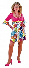 Hippiekleid Peace Flower Minikleid Mottoparty 70er Jahre Look