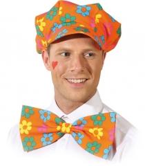 Mütze mit Schleife orange Herren Clown Fasching Karneval Mottopa