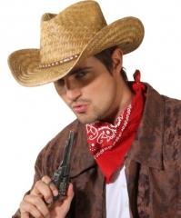 Strohhut mit Lederband Cowboyhut Fasching Karneval Mottoparty Ac