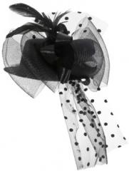 Minihut schwarz mit Tüll Partyhut Damenhut Faschingshut Kopfbedeckung