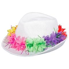 Partyhut ohne Kohle Tribly mit Blütenkette Mallorca Ibiza Abiparty