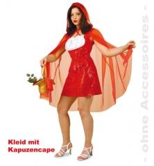 Rotkäppchen Kleid mit Kapuzencape Damenkostüm Märchenkostüm Verkleidun