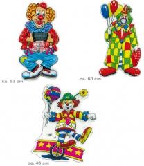3 verschiedene Motive Dekoration Kindergeburtstag Karneval Clownbilder