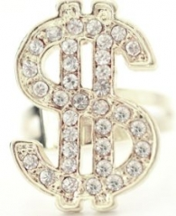 Diamant Dollar Ring de luxe Proll Fasching Karneval