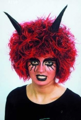 Teufelchenperücke mit Hörnern Karneval Fasching Halloween