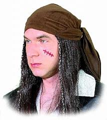Pirat Perücke mit Tuch Karneval Faching Kostüm Party