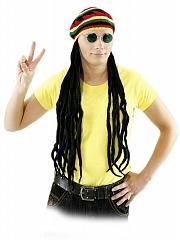 Reggae Mütze mit Haar Jamaika Karneval Fasching Kostüm