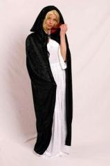 Umhang mit Kaputze schwarz Vampir Samt Karneval Fasching Kostüm Party