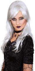 Vampirin Dark Angel Hexe Perücke weiß grau Grusel Horror Halloween
