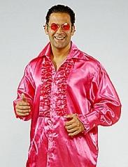 Satin Rüschenhemd Herren Hippie 70s Karneval Mottoparty