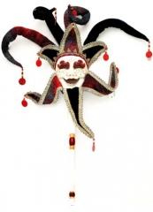 Joker auf Stock Maske Karneval Fasching Maskenball