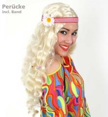 Hippie Perücke blond mit Band und Blume 70er Jahre Party Karneval