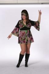 Hippie Lady schwarz 60s 70s Fasching Karneval Übergrößen