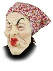 Putzfrau Oma alte Frau Maske mit Tuch Karneval Fasching