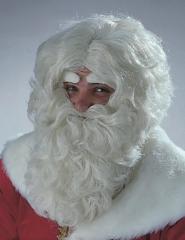 Nikolaus Weihnachtsmann langer Bart in naturfarben