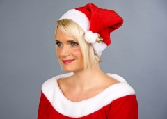 Nikolausmütze aus Plüsch Weihnachtsmannmütze Zubehör Weihnachtsfest