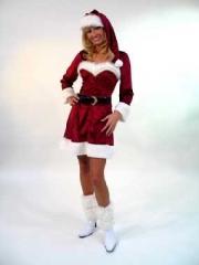 Weihnachtsfrau Nikolaus elegantes Kleid mit Mütze