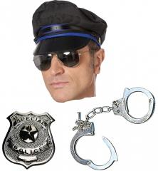 Set Polizeimarke Spiegelbrille Handschellen Stripper sexy Polizist Pol